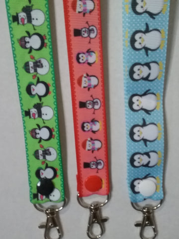 CHRISTMAS LANYARDS Penguins you choose colour ribbon safety breakaway lanyard id holder / whistle holder
