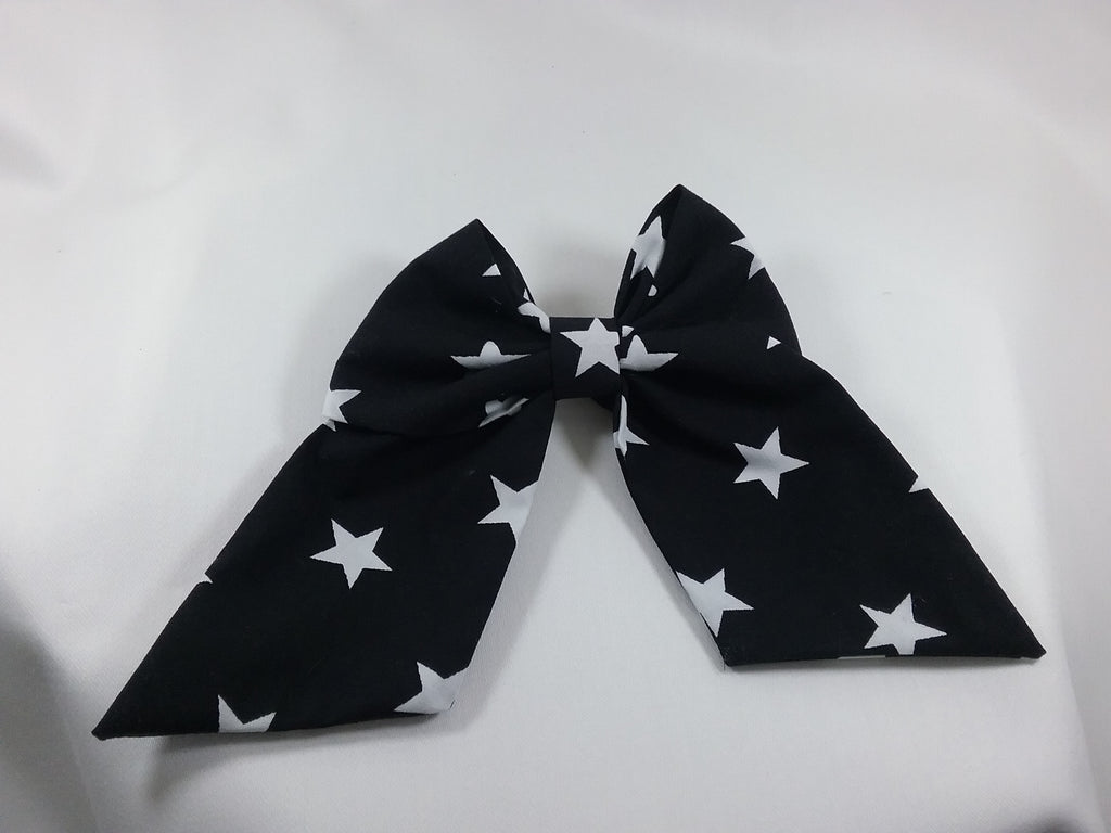 Handmade fabric Hair bow 5 inch black with white stars patterned fabric - Tilly Bees