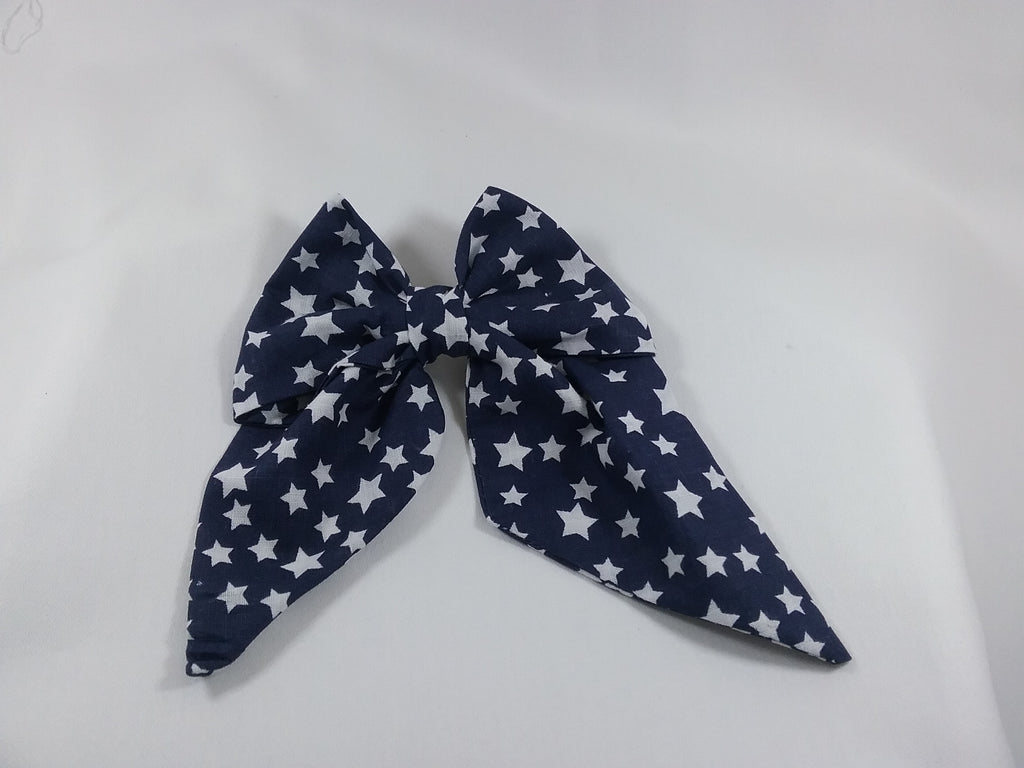 Handmade fabric Hair bow 5 inch Navy blue with white stars on the fabric - Tilly Bees
