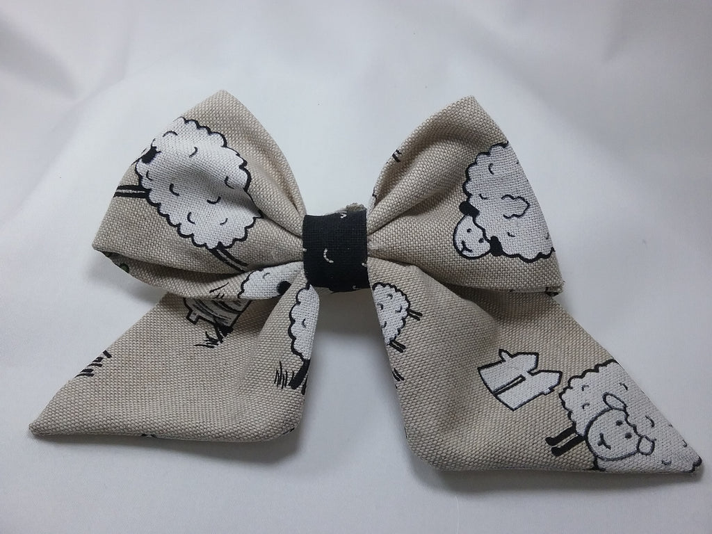 Handmade fabric Sailor hair bow 5 inch Cartoon sheep pattern on natural fabric - Tilly Bees