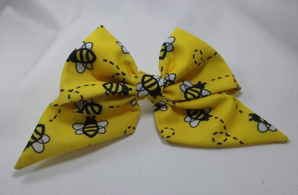 Bee patterned fabric sailor hair bow 5 inch - Tilly Bees