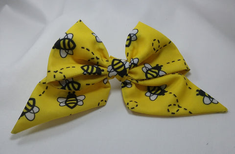 Bee patterned fabric sailor hair bow 5 inch