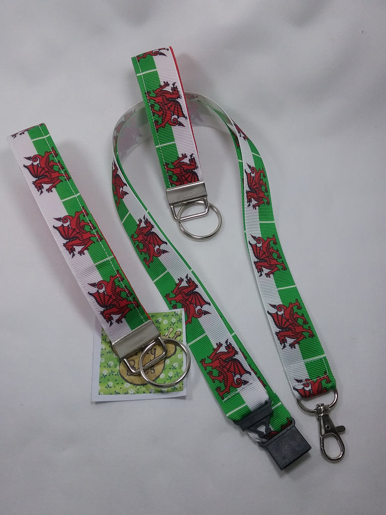 Wales Welsh flag pattern lanyard + key fob + Wristlet set. Safety breakaway id or whistle holder neck strap teacher gift - Tilly Bees