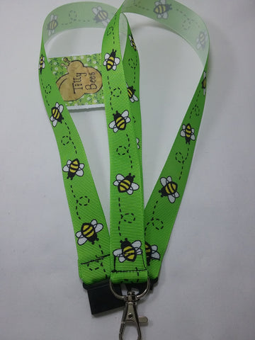 Bright Green Honey bee or Bumble Bee ribbon Lanyard it has a safety breakaway fastener with swivel lobster clasp lanyard id or whistle holder