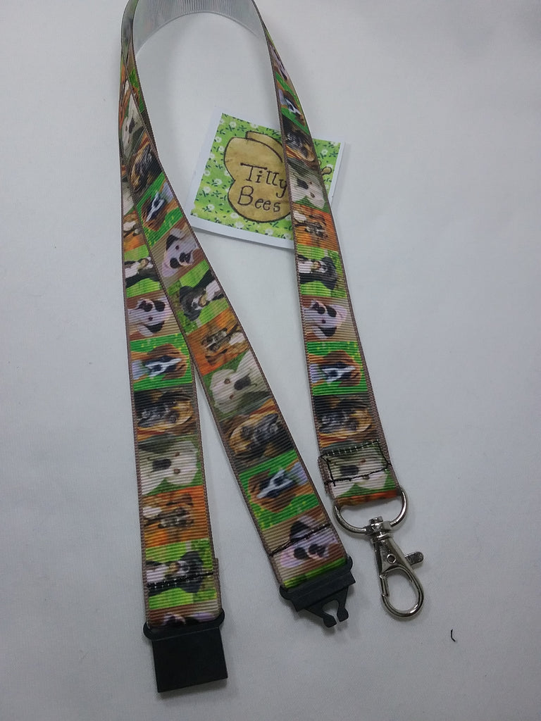 Lots of Boxer dogs ribbon Lanyard with safety breakaway fastener & swivel lobster clasp lanyard ID holder whistle holder - Tilly Bees