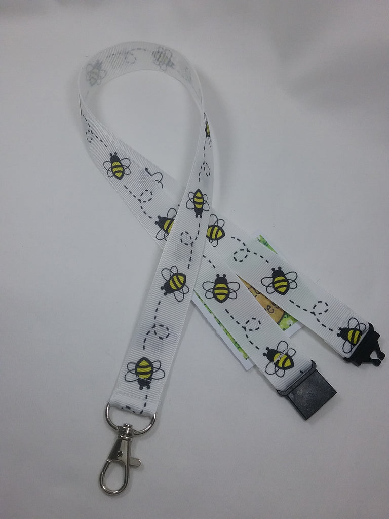 White Honey bee or Bumble Bee ribbon Lanyard it has a safety breakaway fastener with swivel lobster clasp lanyard id or whistle holder - Tilly Bees