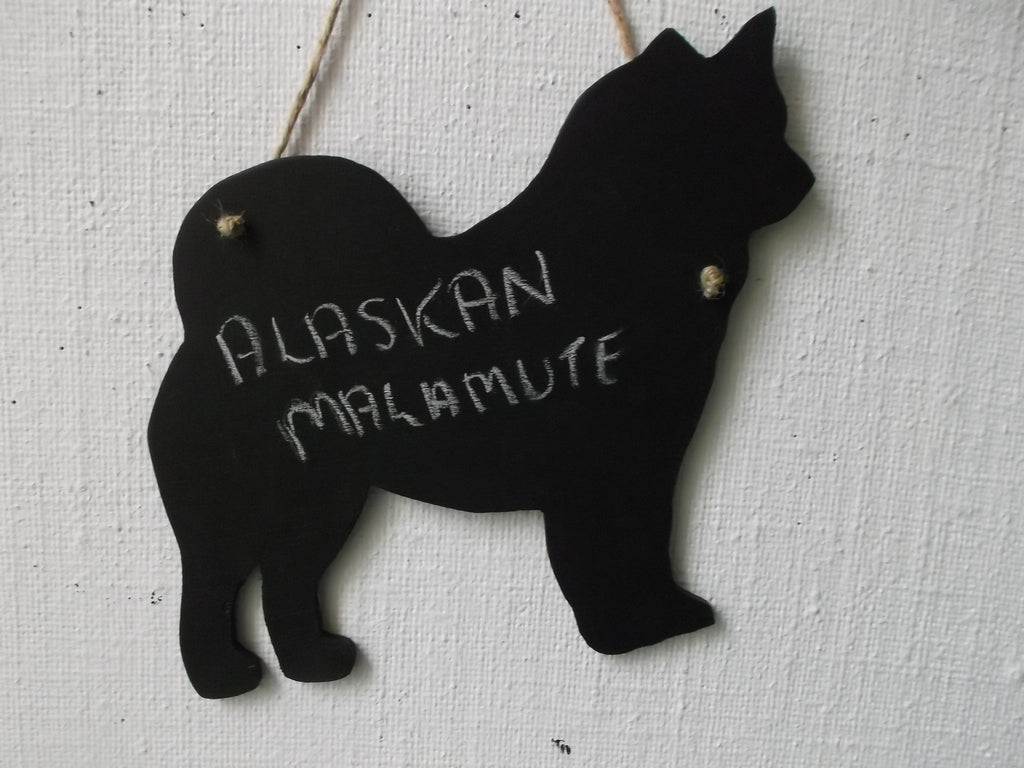 Alaskan Malamute Dog Shaped Black Chalkboard Christmas Birthday gift present pet supplies - Tilly Bees