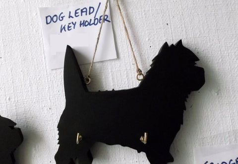 CAIRN TERRIER DOG shaped Key / Lead holder with chalkboard surface Christmas Gift Pet Supplies