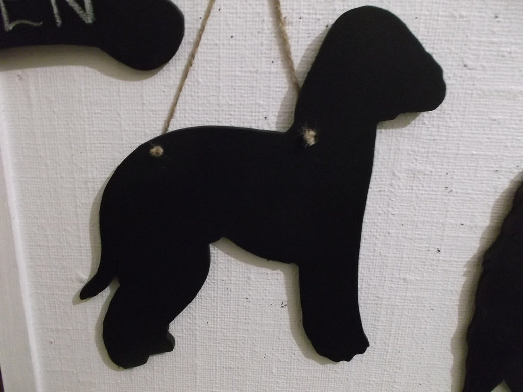 Bedlington Terrier Dog Black Chalkboard can be made as a lead holder too - Tilly Bees