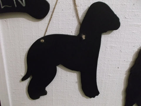 Bedlington Terrier Dog Black Chalkboard can be made as a lead holder too