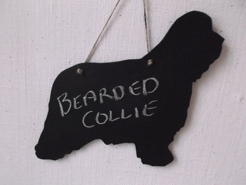 Bearded Collie Dog Shaped Chalkboard Blackboard memo message board larger size 16 x 13 inch