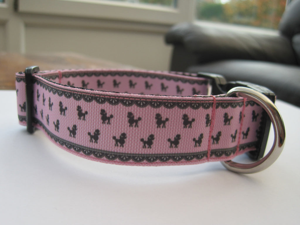 Poodle themed handmade dog collar with a black buckle. 4 sizes available or made to order.