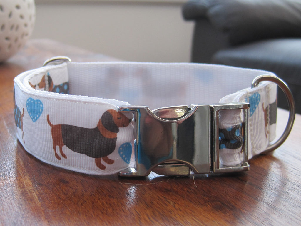 Dachshund handmade dog collar with a SILVER coloured metal buckle 5 sizes - Tilly Bees