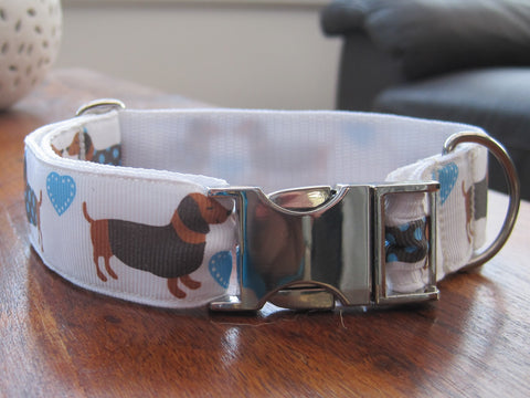 Dachshund handmade dog collar with a SILVER coloured metal buckle 5 sizes