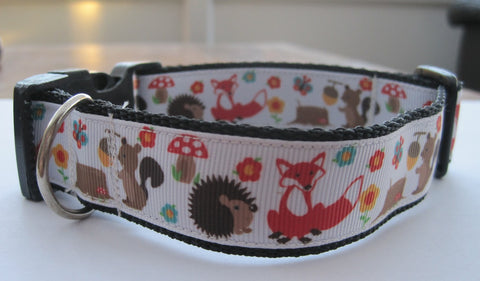 Fox Squirrel & Hedgehog on a woodland themed patterned ribbon handmade dog collar  4 sizes available