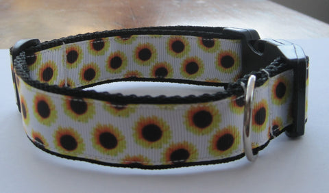 Sunflower patterned handmade dog collar with a black buckle. 4 sizes available or made to order.