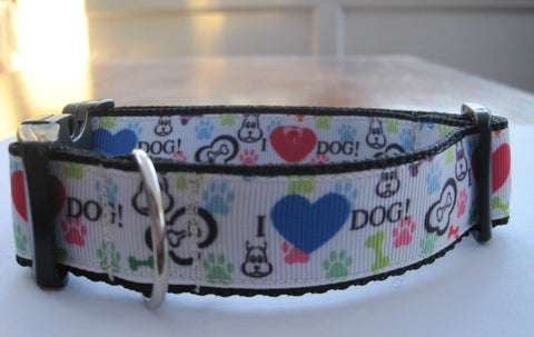 Cute Cartoon Dog themed handmade dog collar with a black buckle. 4 sizes available