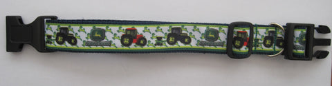 BLACK RED Tractors green pattern ribbon handmade dog collar 4 sizes Like John Deere Class colour