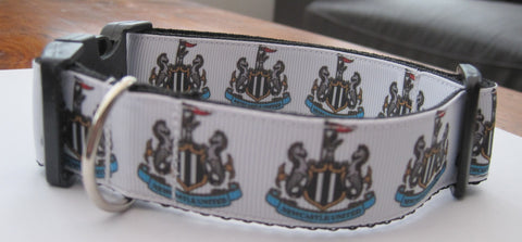 Dog Collar handmade themed patterns like English football team like Newcastle 5 sizes available