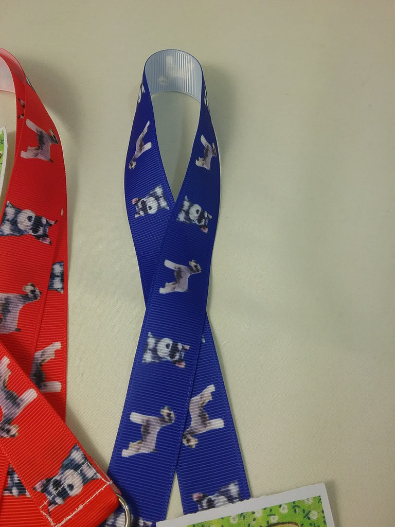 Red or blue Schnauzer dog patterned ribbon Lanyard it has a safety breakaway fastener with swivel lobster clasp lanyard id or whistle holder - Tilly Bees