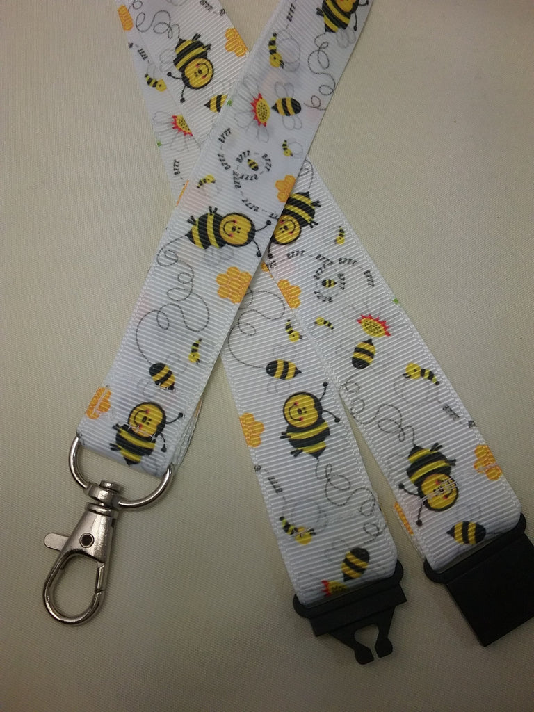 White Cute Honey bee or Bumble Bee and daisy on white ribbon Lanyard it has a safety breakaway fastener with swivel lobster clasp lanyard id or whistle holder - Tilly Bees