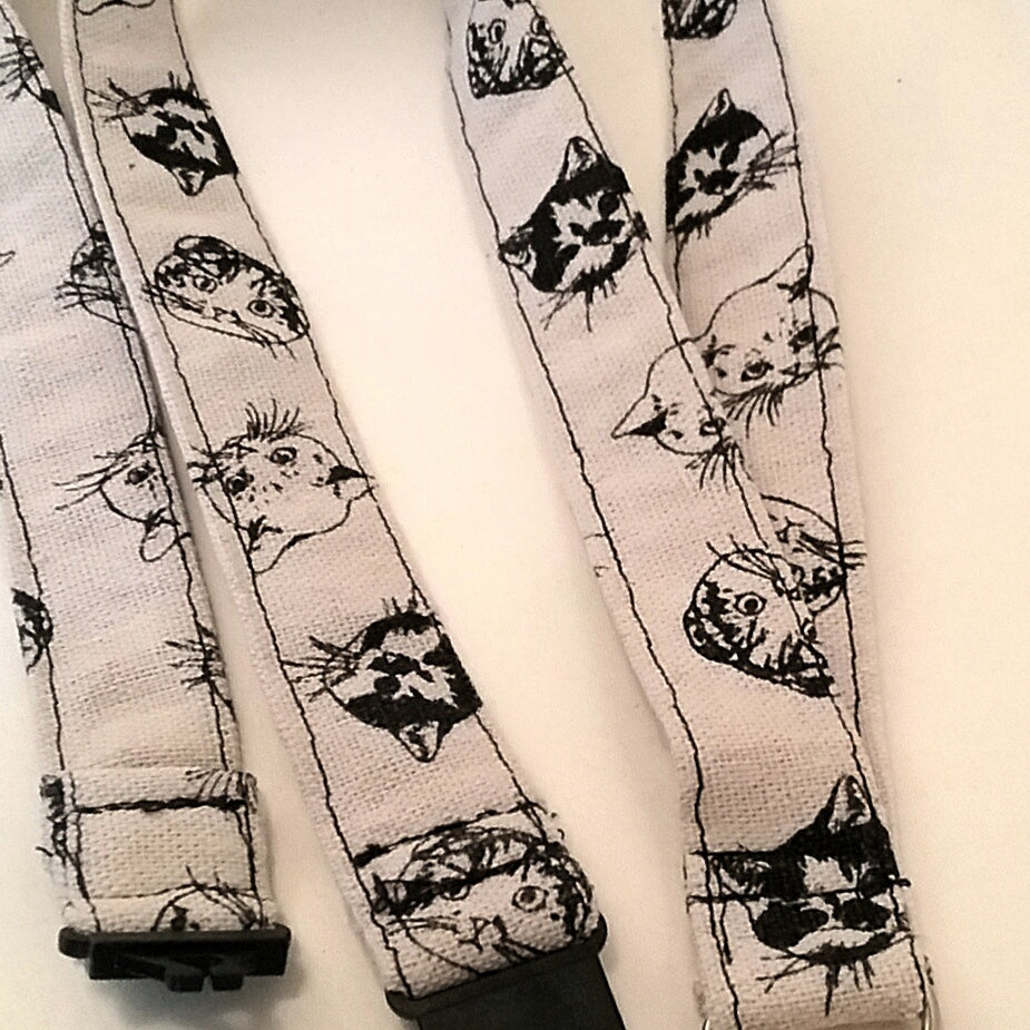 Cats heads on a natural coloured fabric lanyard with safety breakaway landyard id or whistle holder neck strap teacher gift - Tilly Bees