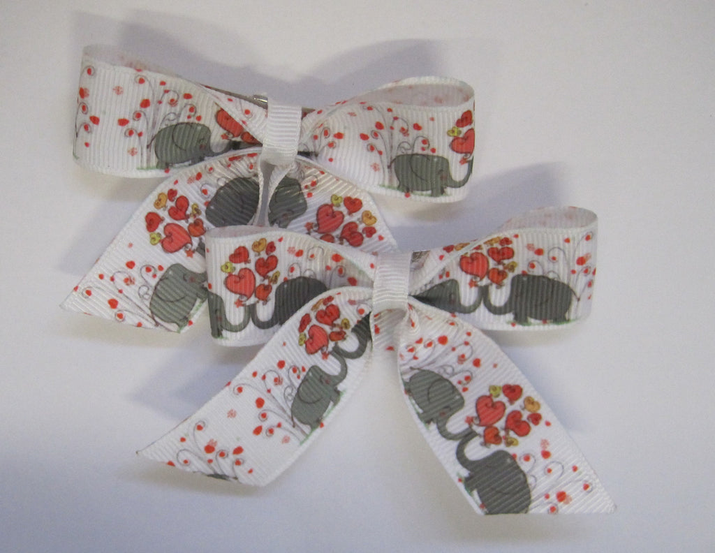 Hair bow clips Elephant themed handmade ribbon for children - Tilly Bees