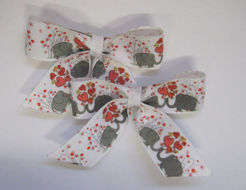Hair bow clips Elephant themed handmade ribbon for children