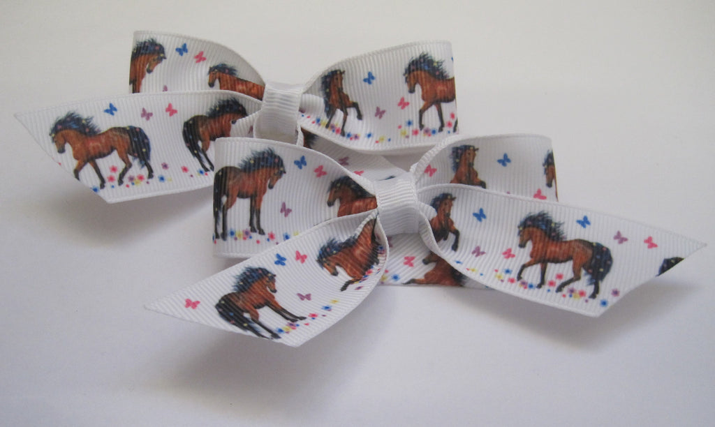 Hair bow clips handmade horse themed brown pony with butterfly - Tilly Bees