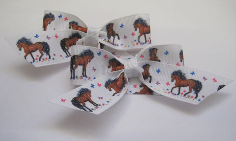 Hair bow clips handmade horse themed brown pony with butterfly