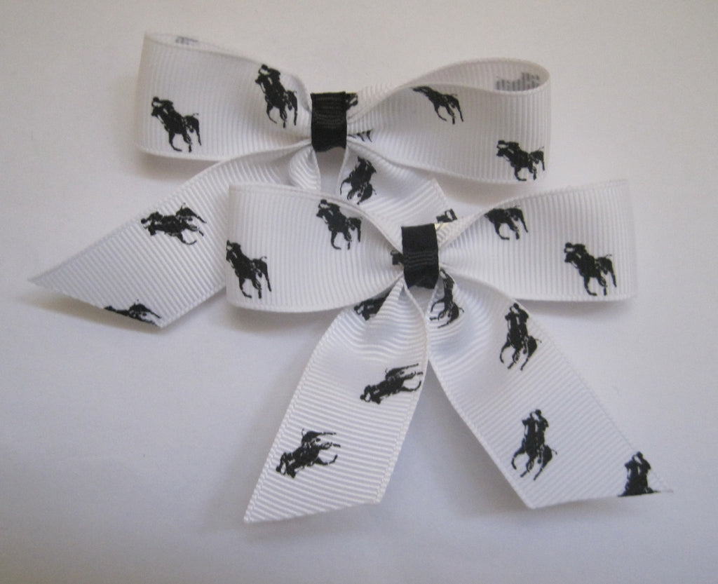 Hair bow clips handmade horse themed ribbon polo pony black and white - Tilly Bees