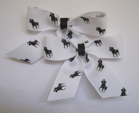Hair bow clips handmade horse themed ribbon polo pony black and white