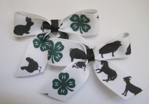 Hair bow clips farm animal themed handmade ribbon pig hen cow sheep