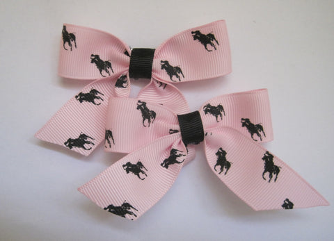 Hair bow clips handmade horse themed ribbon polo pony pink and black