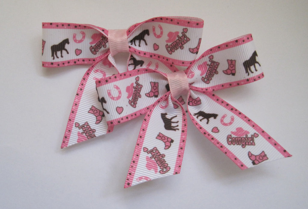 Cowgirl Hair bow clips handmade riding horses pink - Tilly Bees