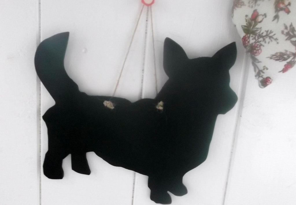 Corgi Dog With Tail Shaped Black Chalkboard unique gift handmade in our own work shop - Tilly Bees