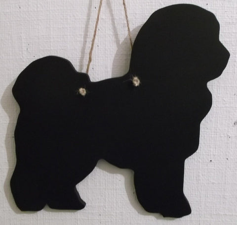 Bichon Frise Dog Shaped Black Chalkboard handmade unique gift pet puppy