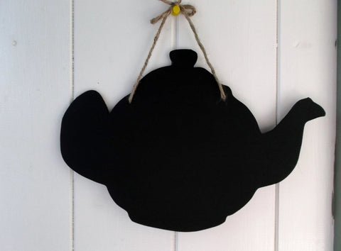 Teapot shaped chalk board blackboard cafe tearooms restaurant teashop kitchen memo message sign