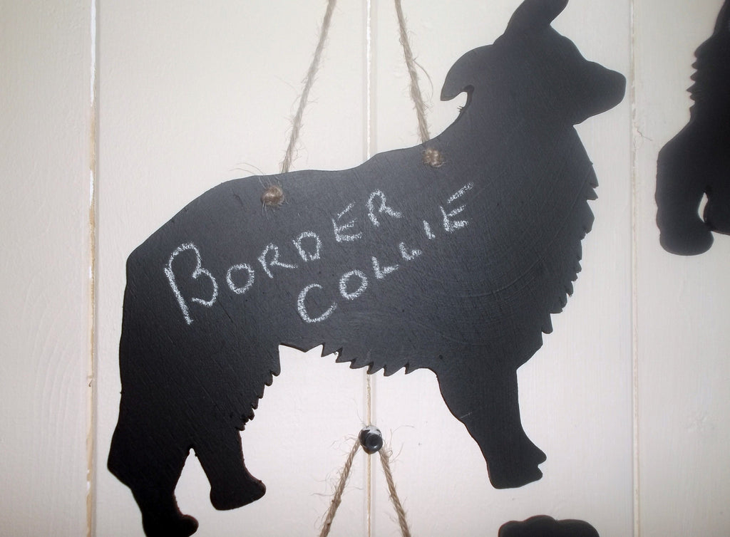 Border Collie / Sheep Dog - Dog Shaped Black Chalkboard unique handmade gift - Tilly Bees