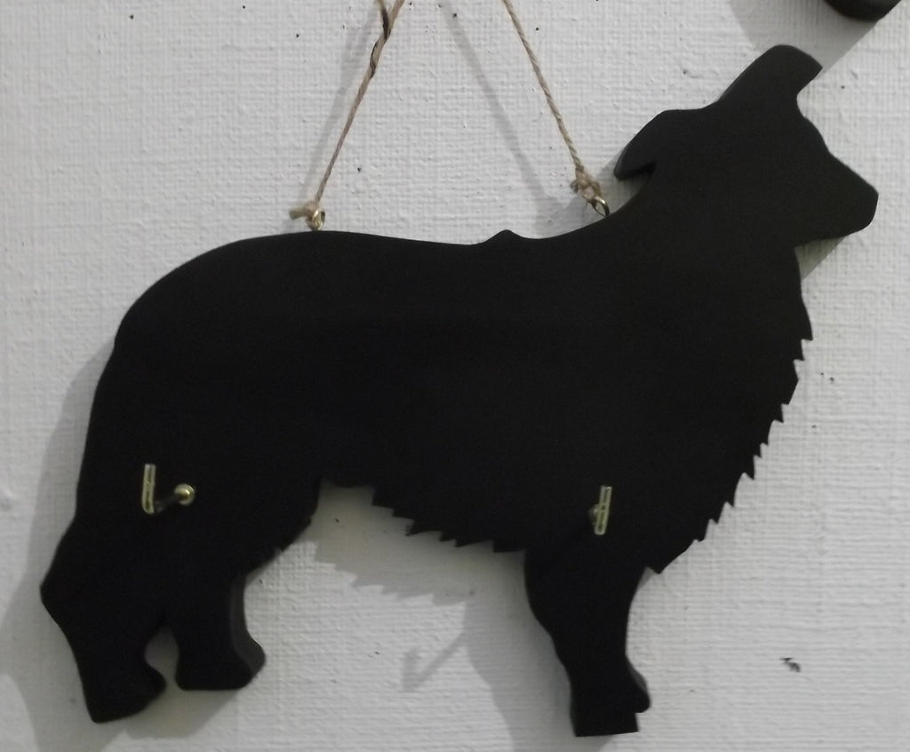 Border Collie / Sheep Dog - Dog Shaped Black Chalkboard Lead or key holder leash hanger - Tilly Bees