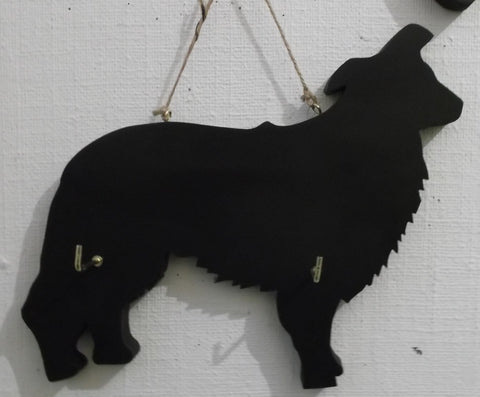 Border Collie / Sheep Dog - Dog Shaped Black Chalkboard Lead or key holder leash hanger