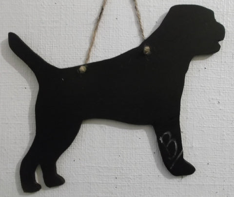 Border Terrier Dog Shaped Black Chalkboard Handmade from moisture resistant MDF