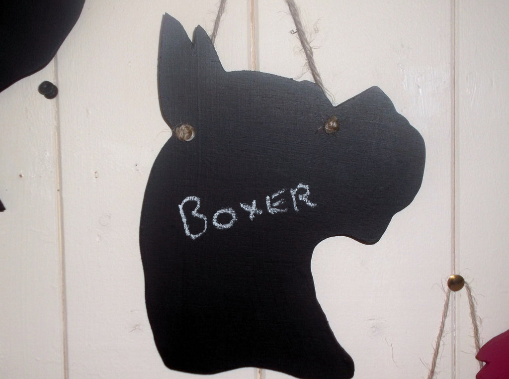 Boxer Head Dog Shaped Blackboard Chalk board Unique handmade gift - Tilly Bees