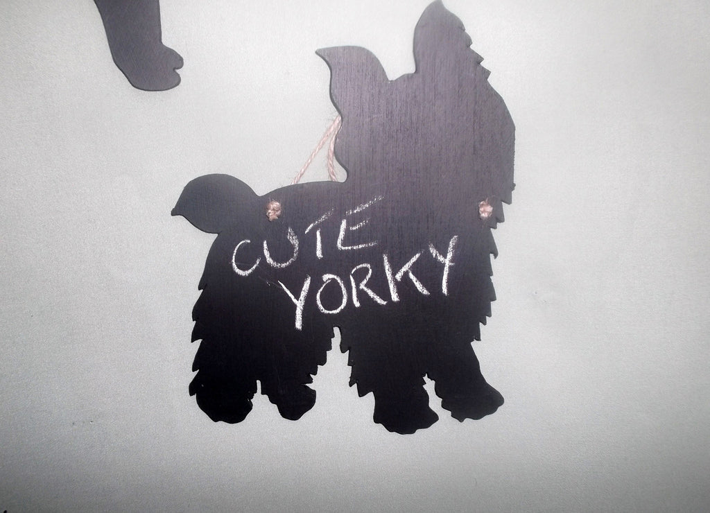 Yorkshire Terrier Cute Dog Shaped Black Chalkboard Christmas Birthday gift present pet supplies