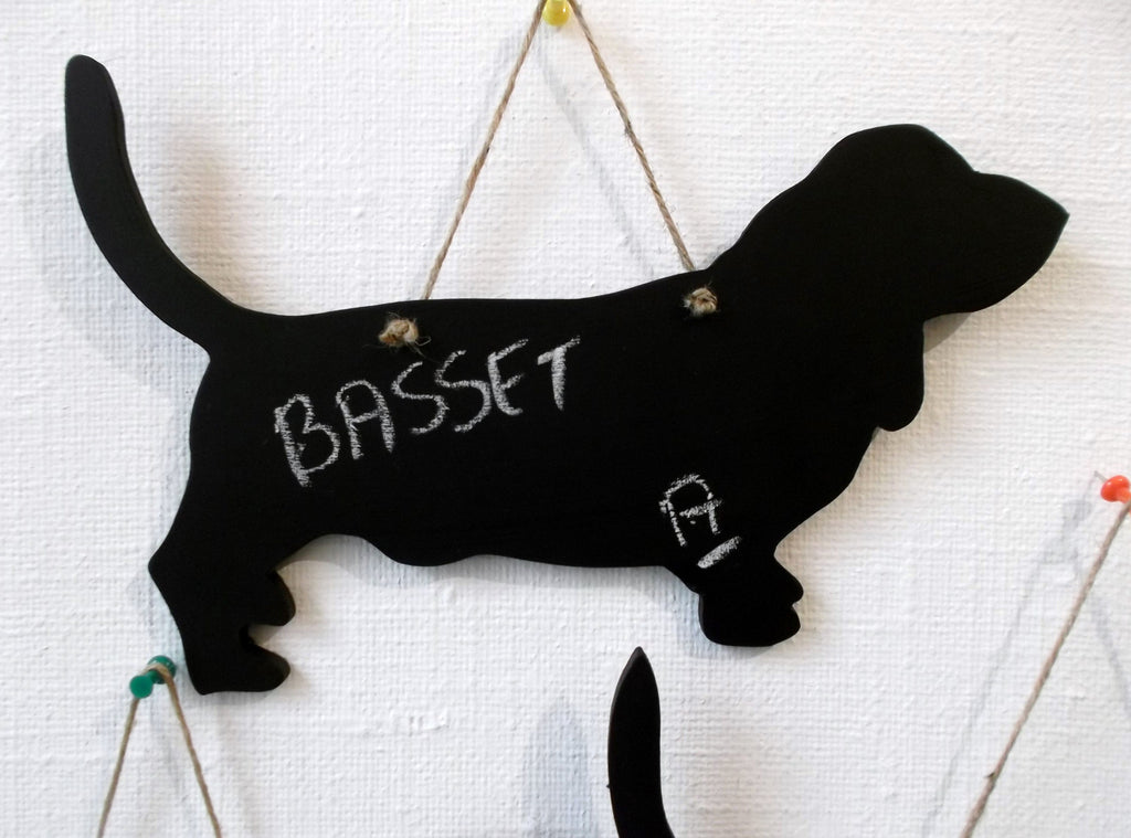 Basset Hound (a) Dog Shaped Black Chalkboard pup puppy - Tilly Bees