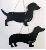 Dachshund like a mini with it's tail up Dog Shaped Black Chalkboard gift present - Tilly Bees