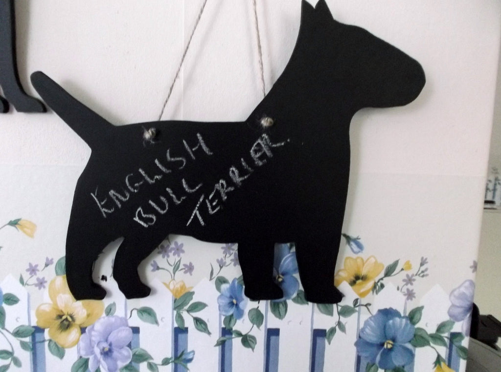 English Bull Terrier Dog Shaped Black Chalkboard gift present pet supplies - Tilly Bees