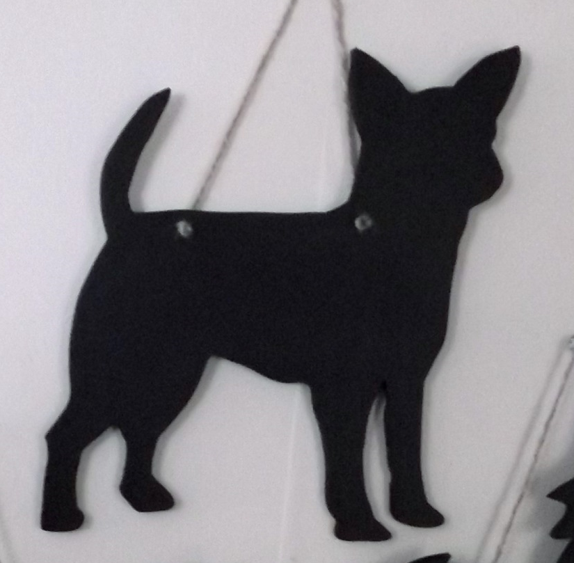 Chihuahua Flat Coated Dog Shaped Black Chalkboard Christmas or Birthday gift - Tilly Bees