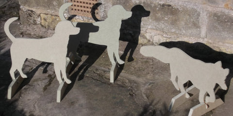 Horse Show Jump Fillers wings Set of 3 UNPAINTED 1 FOX + 2 FOXHOUNDS hunting scene