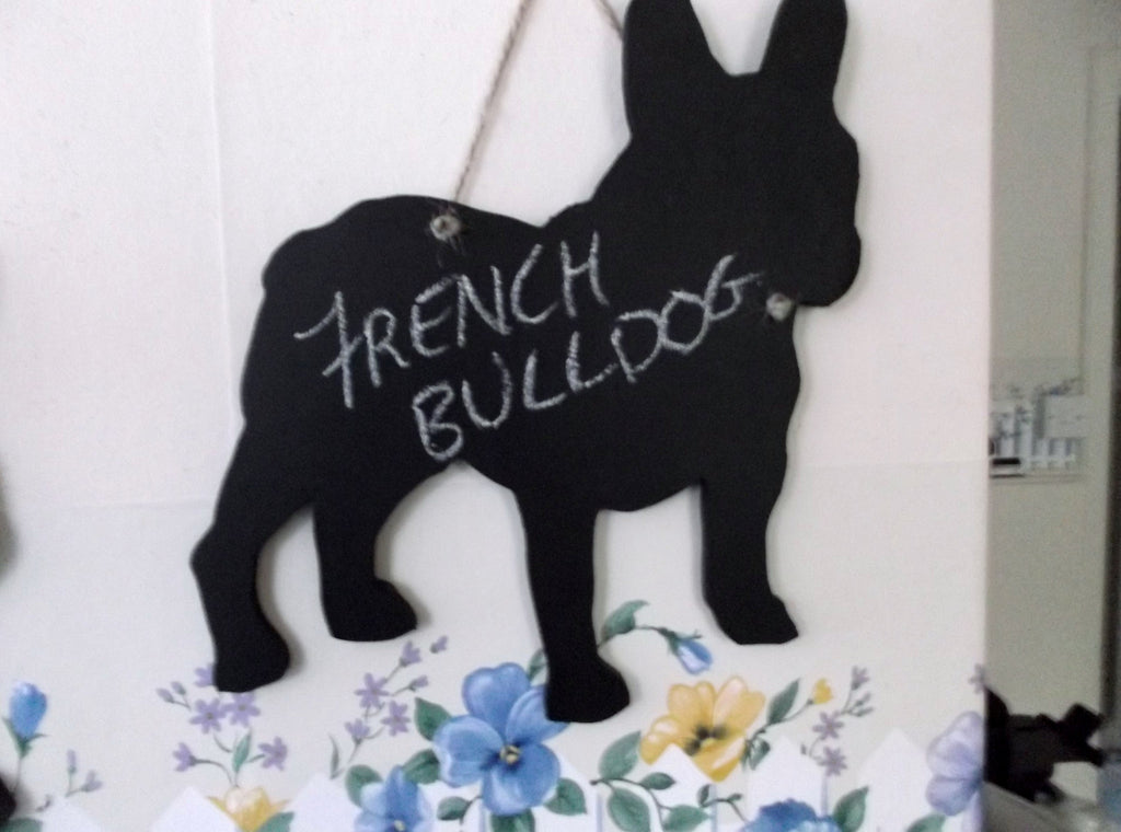 French Bulldog Dog Shaped Black Chalkboard Christmas Birthday gift present pet supplies dog grooming salon - Tilly Bees